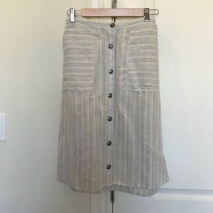 Gray strip island skirt, linen/rayon